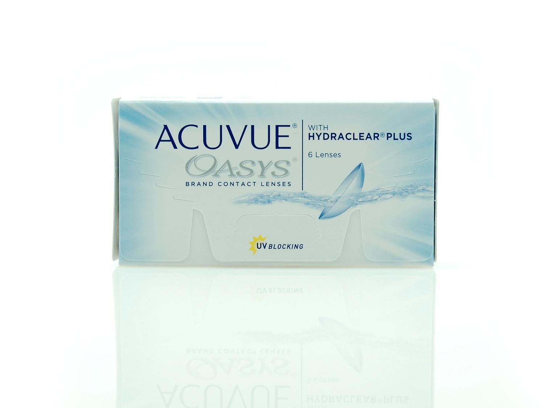 Купить по самой низкой цене двухнедельные мягкие контактные линзы Акувью Оазис 6 линз в упаковке.