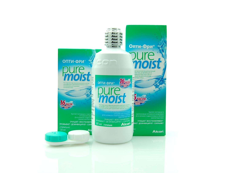 Купить раствор для очистки линз Опти Фри Пью Мойст 300 мл дешего, в наличии и под заказ в оптике Линзбург.